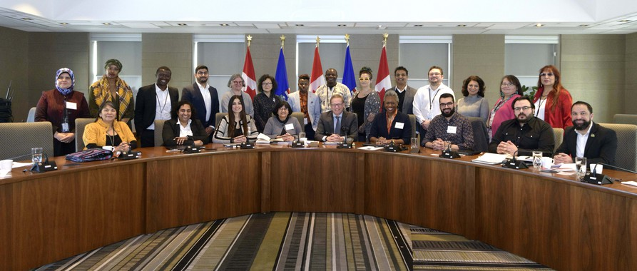 Minister David Eggen and members of the new Alberta Anti-Racism Advisory Council at their first meeting.