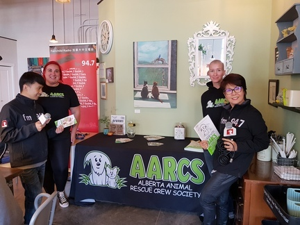 Fairchild Radio Calgary set up a booth in a local cafe to raise the awareness of an animal rescue organization.